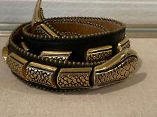 Vintage Streets Ahead Sz L Snake Belt 80s Glam Brass Leather 33-37�