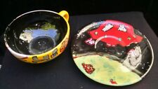 FUN Ceramic oversized tea cup & flying saucer sci fi UFO alien spaceship EJ Gold