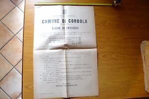 ANTICO MANIFESTO COMUNE CORBOLA AVVISO DI CONCORSO UFFICIALE MEDICO 1890 CHIRURG