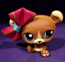 Littlest Pet Shop #1075 Panda Bear Brown Yellow Aqua Blue Eyes