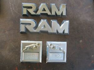 81-93 DODGE RAM 150 CUSTOM FRONT FENDER EMBLEMS OEM COMPLETE SET