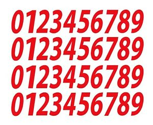 """0-9 Numbers Red Sticker Vinyl Decals CHOOSE SIZE!! 1/2"""" To 12"""" Set Of 40 V546)"""
