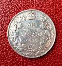 CANADA -  Jolie monnaie de 50  Cents  1919 -