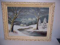 Vintage 1963 Framed Winter Landscape Scene Oil Painting Signed M Mildred Rothert