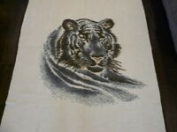 Vintage Biederlack Tiger Head Throw Blanket Brown Cream Reversible 55 x 76