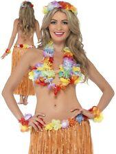 Hawaiian Costume Instant Kit 5Pc Hula Honey Fancy Dress Grass Skirt Outfit New O