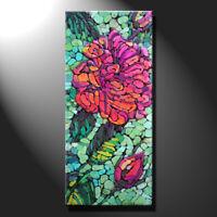 Original mosaic artwork painting porcelain red rose flower artwork art GeeBeeArt