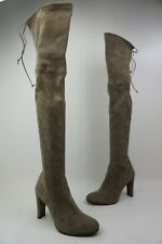 Stuart Weitzman Highland Over the Knee Praline Grey Suede Boots Size 40