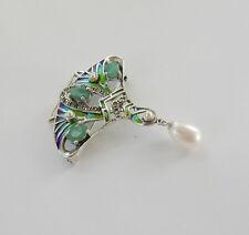 Art Nouveau Argent 925 Perle Émeraude & pilque du jour Émail Pendentif Hallmarked