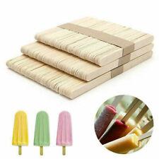 50pcs DIY Wood Popsicle Sticks Ice Cream Stick Cake Wooden Craft Hand Making Set