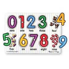Melissa & and Doug ~ Peg Puzzle ~ NUMBERS ~ Illustration Under Each Piece 2+Yrs