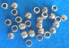 25 Spacer Beads Round Antique Silver Pattern Metal Carved Spacer