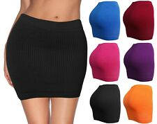 Womens Mini Stretch Mesh Look Solid Basic Bodycon Skirt