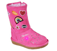 SKECHERS Twinkle Toes Glamslam Infant Toddler Girl's PATCH'N UP Boots, Hot Pink