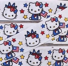 "GROSGRAIN RIBBON 7/8"" 4th of July Hello Kitty (FREE SHIPPING)"