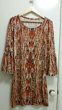 NEW Wild Print knit dress with bell sleeve, size 10-12