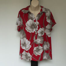 'ALFANI' VGC SIZE '1X' RED. TAUPE  WHITE SHORT SLEEVE FLORAL TOP BUTTON TAB