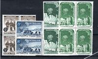 Australia - Australian Antarctic Territory 1959 set to 2s 3d MHN/MLH blocks of 4