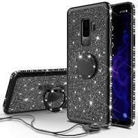 Samsung Galaxy S9 Plus Case, Glitter Bling Diamond Rhinestone Bumper Cute Black