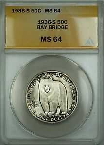 1936-S Bay Bridge Commemorative Silver Half Dollar 50c Coin ANACS MS-64 Toned AA