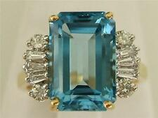 14k. CID Two Tone Blue Topaz & Baguette Diamond Ring, 5.25 Cts. New