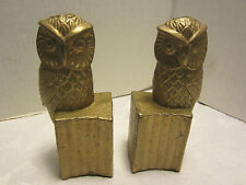 "Vintage  mid-century brass Set owls bookends perch on trunk  6"" Heavy retro"
