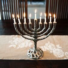 Insideretail Menorah Curved Branch Candle Holder, Pweter Finish