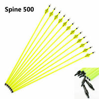 """6/12/24Pcs Archery Hunting Yellow Carbon Arrow 30""""SP500 For Compound/Recurve Bow"""