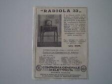 advertising Pubblicità 1930 CGE RADIO RADIOLA 33