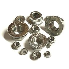 3mm 4mm 5mm 6mm 8mm 10mm 12mm SERRATED FLANGE NUTS A4 Stainless Steel Marine