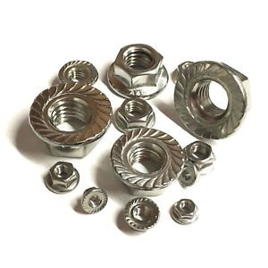 M6 / 6MM HEX FLANGE NUTS A4 MARINE GRADE STAINLESS STEEL HEXAGON SERRATED NUT