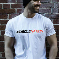 New Men's Clothing Fitness Gym T-shirt  Bodybuilding Muscle Cotton Sport Tee Top