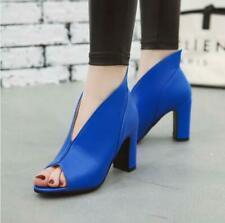 HOt  Women Faux Leather Peep Toe Deep Mouth Chunky Heel Slide Heels Sandals Size