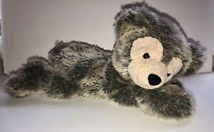 "DISNEY Pre Duffy Bear HIDDEN MICKEY Laying Down FROSTED GRAY Stuffed Plush 17"""