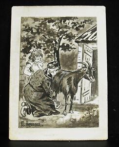 Auguste Besnou c1900 Drawing Original Orientalist Scene Of Farm Africa North