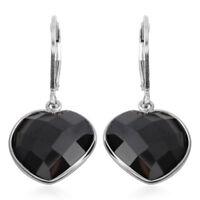 925 Sterling Silver Black Spinel Lever Back Heart Earrings Cttw 9.5