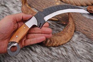 "10""Custom hand Forged Railroad High Carbon Steel Hunting Karambit Knife+sheath"