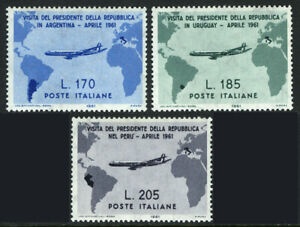 Italy 832-834,MNH.Visit of President Gronchi to South America.Map.Airplanes,1961