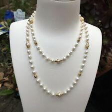 14KGF 6-7mm,5-6mmFreshwater Pearl Natural White Necklace 90cm AAA+ Luster