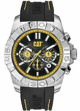 NEW Mens Caterpillar CAT A414324124 Black/Yellow Rubber Analog Chronograph Watch