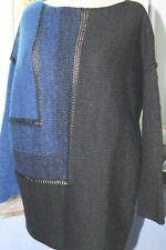 SARAH PACINI  Superbe pull -tunique avec  belles mailles bicolores NEUF et TU !