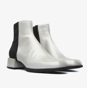 Camper Kobo Ivory Black Leather Ankle Boots Sz 41/9.5 Square Heel Bootie