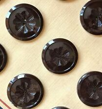 "Vintage Buttons - 12 Chocolate Brown Carved 2-hole Casein 1"" Buttons - France"
