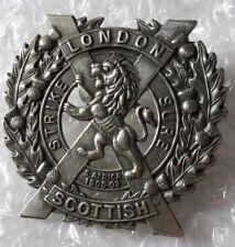 WW1 London Scottish Regiment Cap Badge WM 2 Lugs Genuine
