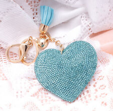 Hot Fashion 800+ Crystals Rhinestones Blue Heart For Women Keyring Handbag Bag
