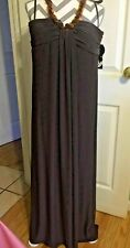 NWT! Nine West Cocktail Evening Party Formal Maxi Brown Halter Dress ~ Sz.14