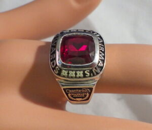 STERLING RING CHAIRMAN'S AWARD  FIELD SERVICE RED SAPPHIRE STONE RING S-7.5