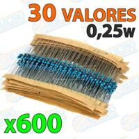 Lote 600 Resistencias 30 valores diferentes 0,25w ±1% 300v - Arduino Electronica