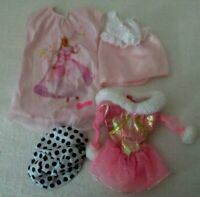 Barbie doll clothes 9 items with pink or purple Barbie labels + 5 accessories