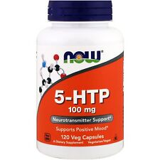 Now Foods 5-HTP 100mg - 120 Veg Capsules - Relieve Stress & Boost Mood